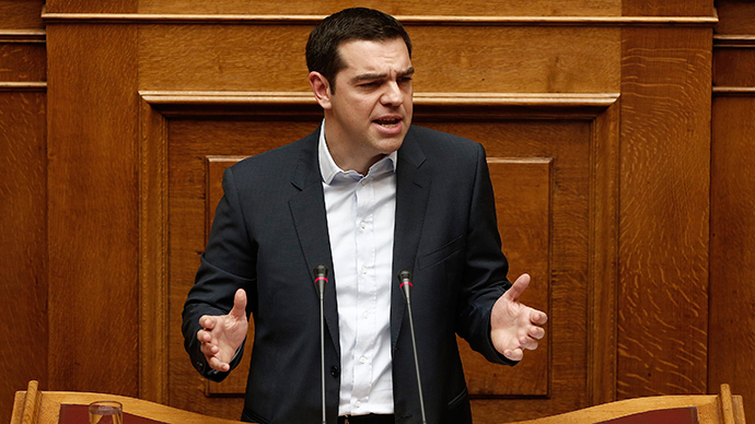 Greek Prime Minister Alexis Tsipras delivers his first major speech in parliament in Athens February 8, 2015 (Reuters / Alkis Konstantinidis)