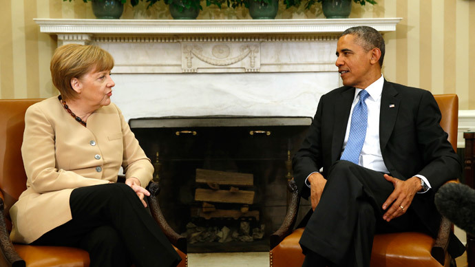 U.S. President Barack Obama (R) and German Chancellor Angela Merkel  (Reuters / Kevin Lamarque)