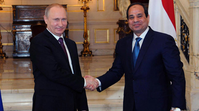Russia's President Vladimir Putin (L) shakes hands with Egypt's President Abdel Fattah al-Sisi during a meeting in Cairo February 10, 2015. (Reuters / Mikhail Klimentyev)