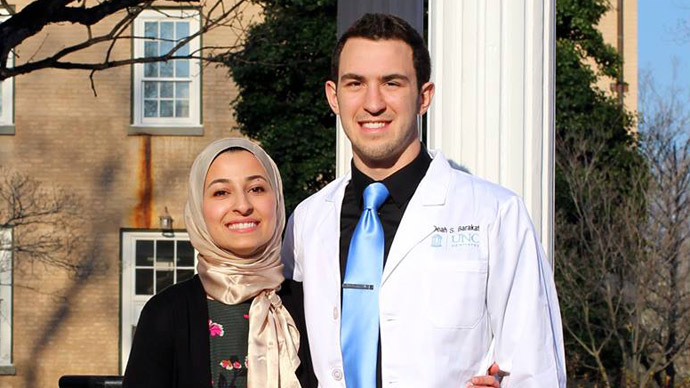 Deah Shaddy Barakat and his wife, Yusor Mohammad Abu-Salha (Photo from Facebook)