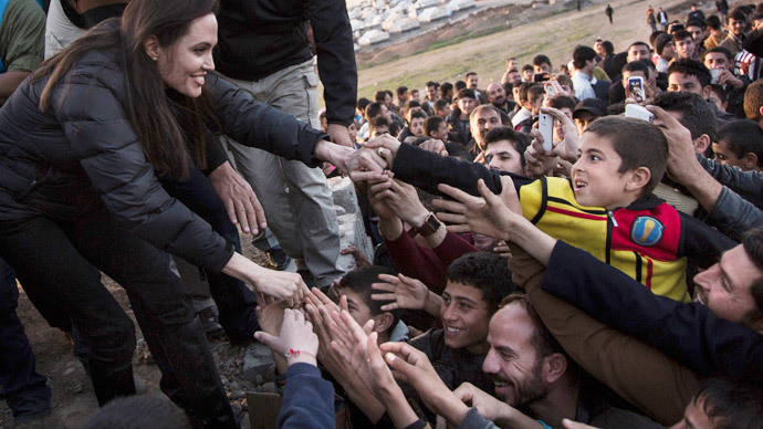 United Nations High Commissioner for Refugees (UNHCR) Special Envoy Angelina Jolie meets members of the Yazidi minority in Khanke internally displaced person (IDP) Camp in Dohuk, northern Iraq January 25, 2015.(Reuters / Andrew McConnell)