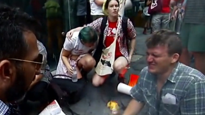 Police pepper-spray protesting students in Sydney – including a legally blind girl