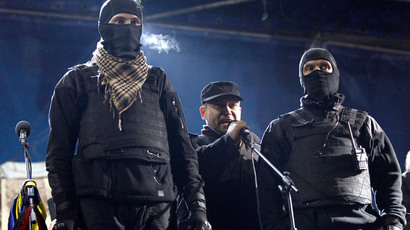 Right Sector's leader Dmitry Yarosh (center).(Reuters / David Mdzinarishvili)