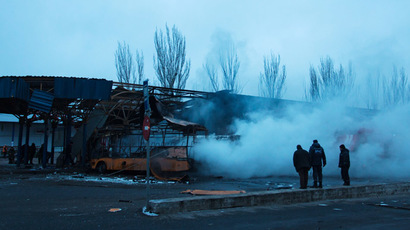 Bus station damaged by a shelling in Donetsk. (RIA Novosti/Dan Levy)