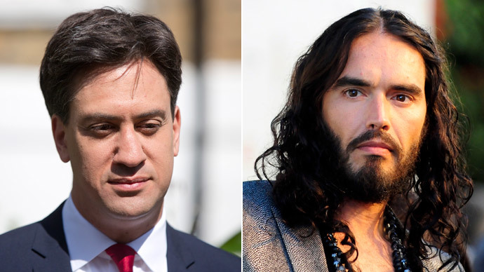 Ed Miliband and Russell Brand.(Reuters / Neil Hall / Gus Ruelas)