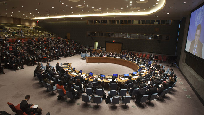 The United Nations Security Council is pictured during a meeting about the situation in Libya in the Manhattan borough of New York February 18, 2015. (Reuters/Carlo Allegri)