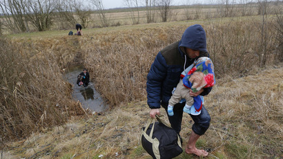 A Kosovo man carries his baby as he crosses illegally the Hungarian-Serbian border near the village of Asotthalom February 6, 2015. (Reuters/Laszlo Balogh)