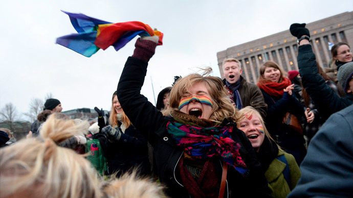 Supporters of same-sex marriage celebrate outside the Finnish Parliament in Helsinki November 28, 2014. (Reuters / Mikko Stig)