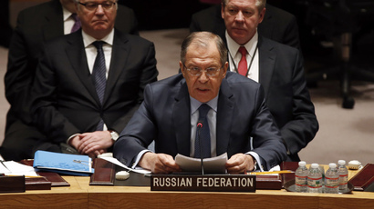Russian Foreign Minister Sergey Lavrov addresses a meeting of the United Nations Security Council at the U.N. headquarters in New York, February 23, 2015. (Reuters / Mike Segar)
