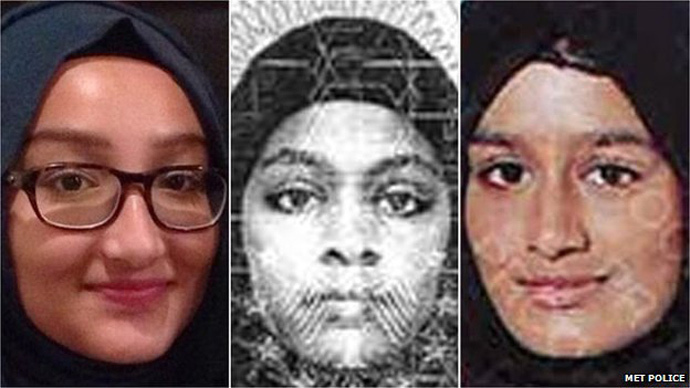 (L-R) Kadiza Sultana, Amira Abase and Shamima Begum (MET Police)