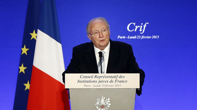 RIF President Roger Cukierman delivers a speech during the 30th annual dinner held by the French Jewish Institutions Representative Council (Conseil Representatif des Institutions juives de France - CRIF) in Paris, February 23, 2015. (Reuters/Etienne Laurent/Pool)