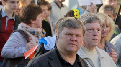 Yabloko party leaders Sergei Mitorkhin and Grigory Yavlinsky. (RIA Novosti/Vitaliy Belousov)