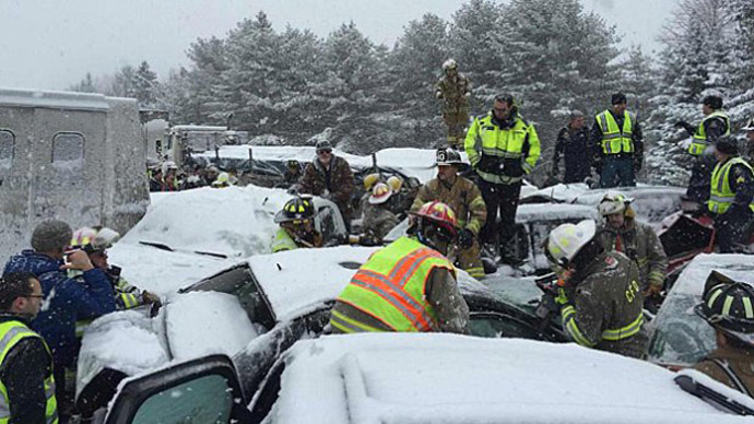 The pileup on I-95 in Etna, Maine happened around 7:30 a.m. Wednesday. (Photo credit: Maine State Police)