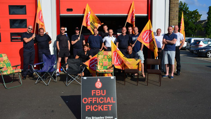 ​'Liars!' Striking firefighters march on Parliament over pensions