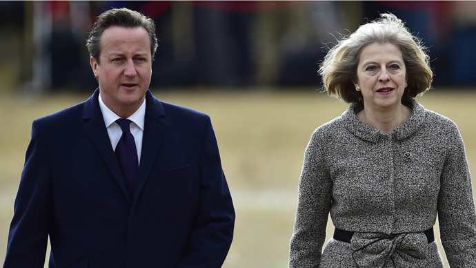 Britain's Prime Minister David Cameron (L) and Home secretary Theresa May. (Reuters/Toby Melville)
