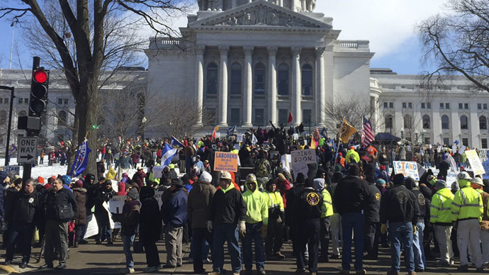 Hundreds of union members rally outside the State Capitol building in Madison, Wisconsin February 24, 2015. (Reuters/Brendan O'Brien)