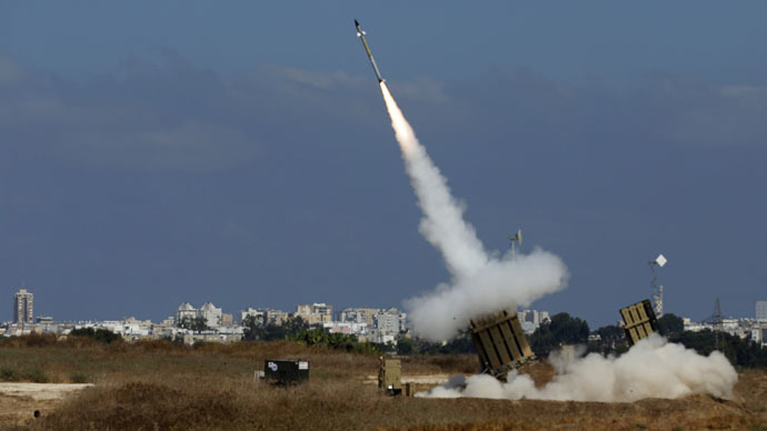 An Israeli missile is launched from the Iron Dome defense missile system (Reuters/Baz Ratner)