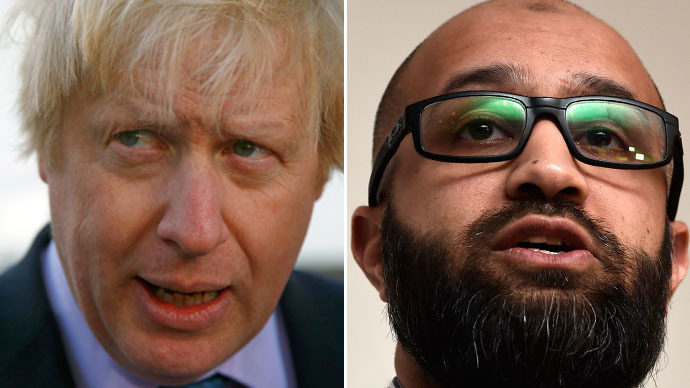 London mayor Boris Johnson (L) and Asim Quresh. (Reuters)