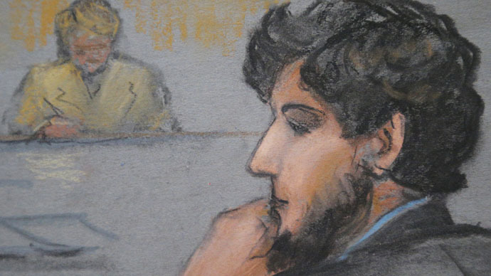 A courtroom sketch shows Boston Marathon bombing suspect Dzhokhar Tsarnaev (R) during the jury selection process in his trial at the federal courthouse in Boston, Massachusetts (Reuters/Jane Flavell Collins)