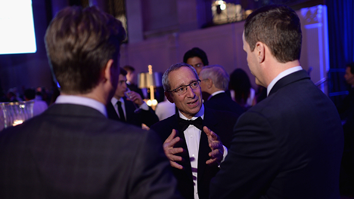 Chief executive officer ABCO HVACR Supply and Solutions, and chairman of the board of directors at Make-A-Wish Foundation, Michael Senter (C) attends the Make-A-Wish Metro New York Annual Gala - An Evening of Wishes at Cipriani, Wall Street (Dimitrios Kambouris / Getty Images for Make-A-Wish / AFP)
