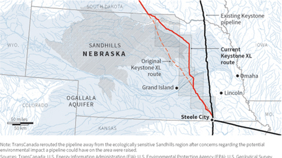 Maps the route of the proposed TransCanada Keystone XL pipeline through Nebraska (Reuters)