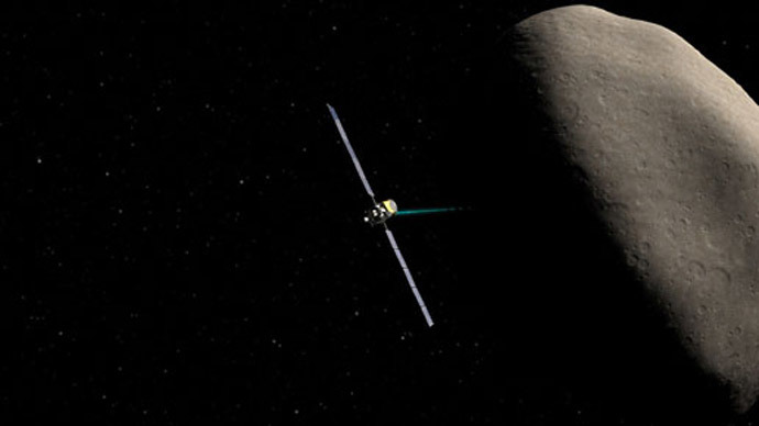 Artist concept showing the Dawn spacecraft at Ceres.(Image by NASA)