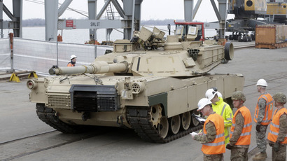 An Abrams main battle tank, for US troops deployed in the Baltics as part of NATO's Operation Atlantic Resolve, leaves Riga port March 9, 2015. (Reuters/Ints Kalnins)