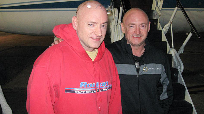 NASA astronaut Scott Kelly (left), Expedition 26 commander, is reunited with his twin brother, Mark Kelly on March 17, 2011, following a flight back to Ellington Field, Houston from Kustanay, Kazakhstan (Image from nasa.gov)