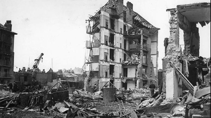 Damage Caused by V2 Rocket Attacks in Britain, 1945 (Image from wikipedia.org)