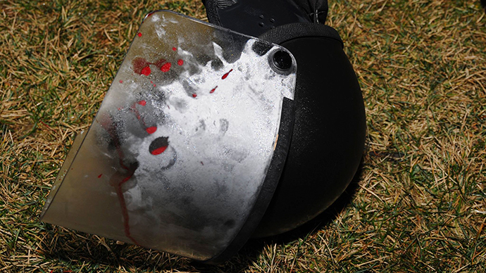 Police photo collected at the scene from the St. Louis County Police Crime Scene Unit shows a police helmet where two police officers were shot just after midnight in Ferguson, Missouri March 12, 2015 (Reuters / t. Louis County Police)