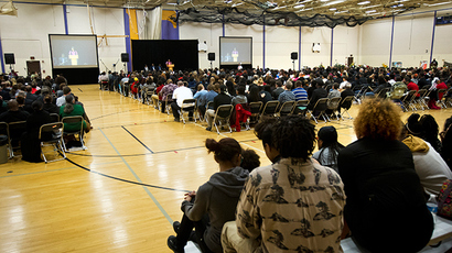 The funeral for Tony Robinson, Jr. drew over eight hundred people in the main gymnasium at Madison East High School in Madison, Wisconsin, March 14, 2015 (Reuters / Ben Brewer)