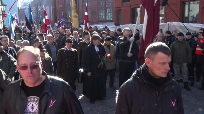 Hundreds of Waffen-SS veterans march in Riga, antifascists 'sanitize' square after them