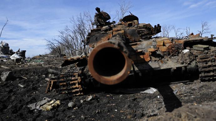 Burnt military equipment in the village of Nikishino, Donetsk Region. (RIA Novosti / Sergey Averin)