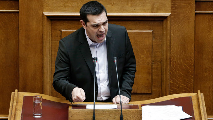Greek Prime Minister Alexis Tsipras addresses lawmakers during a parliamentary session in Athens March 18, 2015. (Reuters / Alkis Konstantinidis)