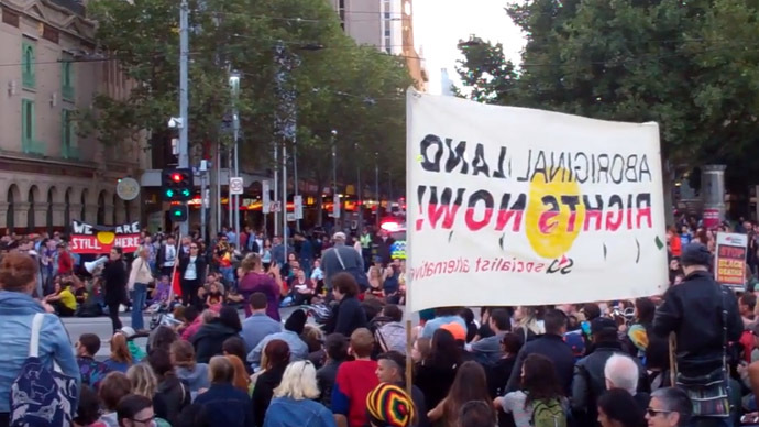 Melbourne Aboriginal Sovereignty Rally, March 13, 2015. (A still from Youtube video by Anthony Amis)