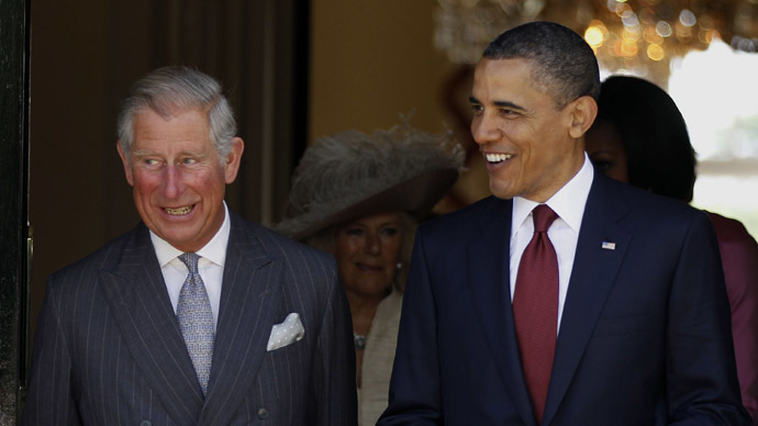 U.S. President Barack Obama walks with Britain's Prince Charles. (L) (Reuters / Larry Downing)