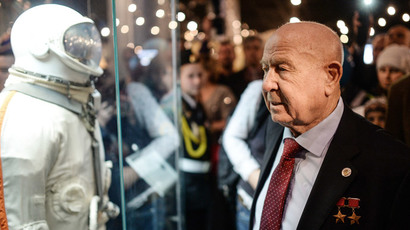 Russian cosmonaut Alexey Leonov at Moscow Museum of Cosmonautics on March 19.(RIA Novosti / Vladimir Astapkovich)