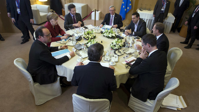 (L-R) French President Francois Hollande, German Chancellor Angela Merkel, Eurogroup Chairman Jeroen Dijsselbloem, European Commission President Jean Claude Juncker, Greek Prime Minister Alexis Tsipras, European Council President Donald Tusk and officials take part in a meeting during a European Union leaders summit in Brussels March 19, 2015.(Reuters / Yves Herman)