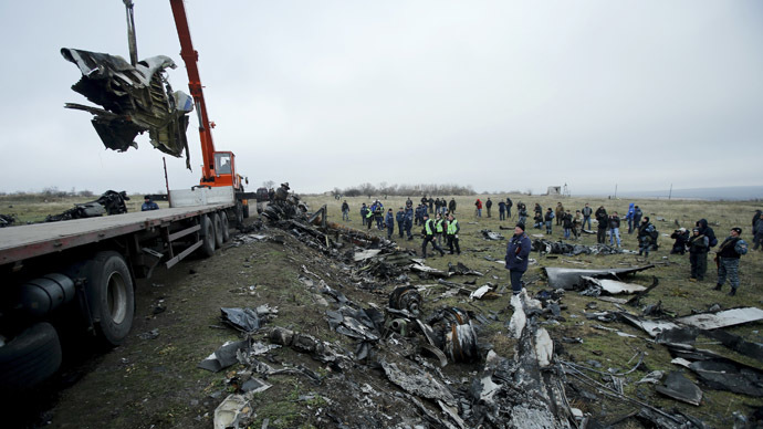 A crane carries wreckage of the Malaysia Airlines Boeing 777 plane (flight MH17) at the site of the plane crash near the settlement of Grabovo in the Donetsk region November 16, 2014. (Reuters / Antonio Bronic)