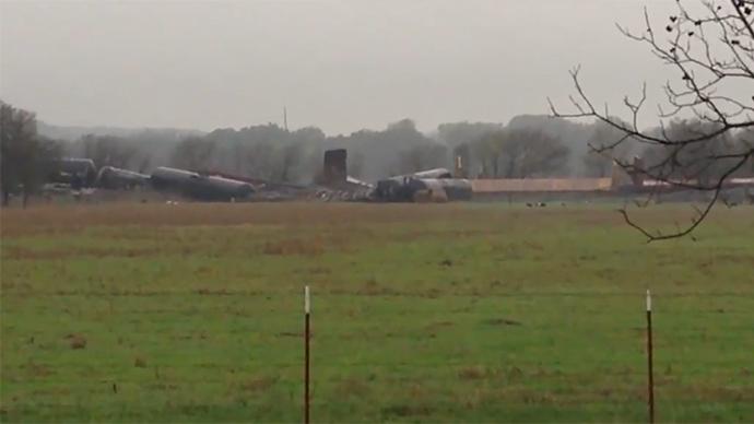 Hazmat team dealing with methanol leak after Texas train derailment