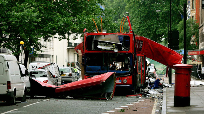 The number 30 double-decker bus that was destroyed by a bomb in Tavistock Square, in central London is seen in this July 8, 2005.(Reuters / Dylan Martinez)