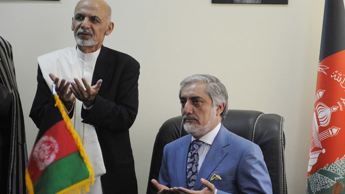 Afghan President Ashraf Ghani (L) and the Afghan Chief Executive Officer, Abdullah Abdullah.(AFP Photo / Jawad Jalali)
