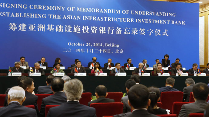 A general view of the signing ceremony of the Asian Infrastructure Investment Bank at the Great Hall of the People in Beijing October 24, 2014. (Reuters/Takaki Yajima)