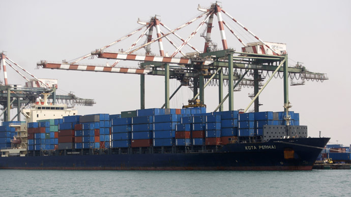 A ship is docked at the container terminal at the southern Yemeni port of Aden June 16, 2010. (Reuters / Khaled Abdullah)