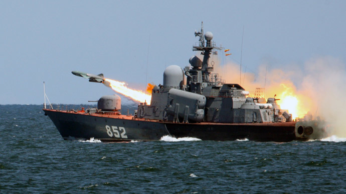 """A """"Termit"""" anti-ship cruise missile launched from the missile boat """"R-123"""" during tactical exercises of the Russian Baltic Fleet with missile firings in the Baltic Sea. (RIA Novosti / Igor Zarembo)"""