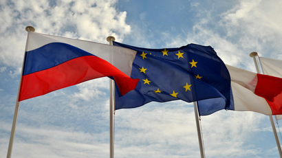 Flags of Russia, the EU and France. (RIA Novosti / Vladimir Sergeev)