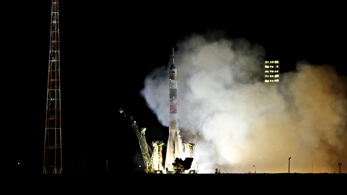 The Soyuz TMA-16M spacecraft carrying the International Space Station crew of Mikhail Kornienko and Gennady Padalka of Russia and Scott Kelly of the U.S. blasts off from the launch pad at the Baikonur cosmodrome March 28, 2015. (Reuters/Maxim Zmeyev)