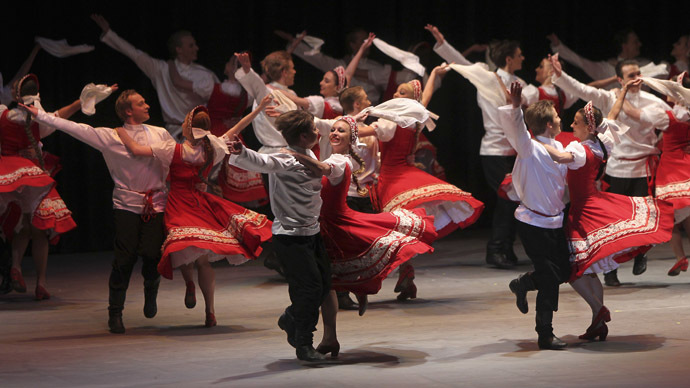 Dancers from Russia's Igor Moiseyev Ballet perform in a charity show at the Palace of Culture in Amman May 22, 2012. (Reuters / Ali Jarekji)