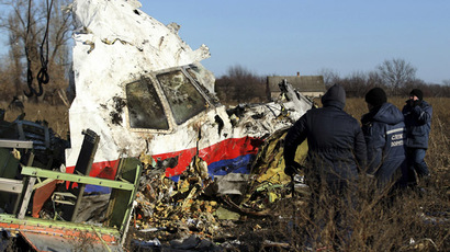 Local workers transport a piece of wreckage from Malaysia Airlines flight MH17 at the site of the plane crash near the village of Hrabove (Grabovo) in Donetsk region, eastern Ukraine November 20, 2014. (Reuters/Antonio Bronic)