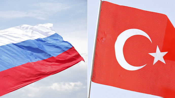 Russian flag (Reuters/Maxim Zmeyev) and Turkish flag (Reuters/Murad Sezer)